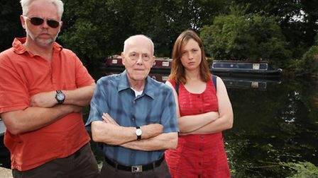 Hackney residents Tim Taylor, left, Dave Barlow, and Dee O'Connor are angry at the fish deaths.