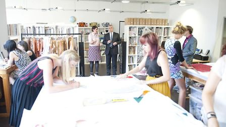 Prince Andrew in Holly Fulton's studio at the official opening of The Trampery