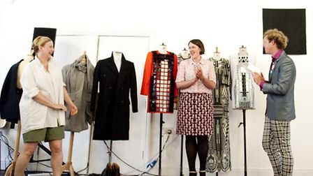Lou Dalton (left) and Holly Fulton (centre) with Charles Armstrong, Director of the Trampery at its