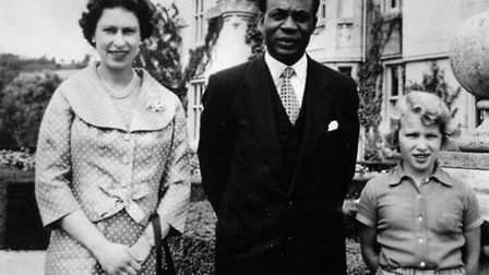 Dr Kwame Nkrumah, prime minister of Ghana, with Queen Elizabeth II, and Princess Anne, at Balmoral C