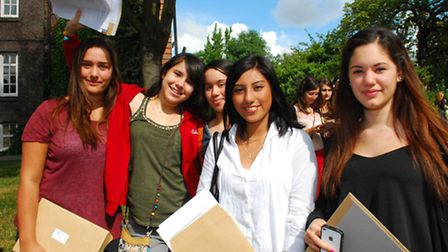 Students at Parliament Hill School collect their GCSE results in 2012 (from left) Zeynep Cavcav, Chr