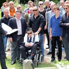Great Train robber Ronnie Biggs attends the internship of Bruce Reynolds ashes at Highgate Cemetery.