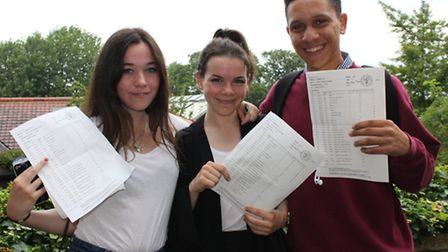 Top performing King Alfred School pupils (from left) Niamh Rowe, Louise Cooper and Jordan Schwarzenb