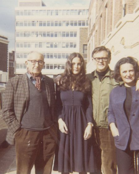(From left) Julius First, Robyn Slovo, Joe Slovo, and Ruth First in Lyme Street, Camden Town