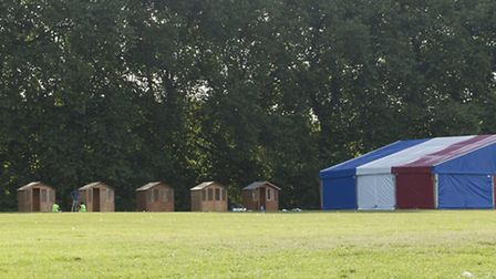 Log cabins are being set up on Hackney Downs