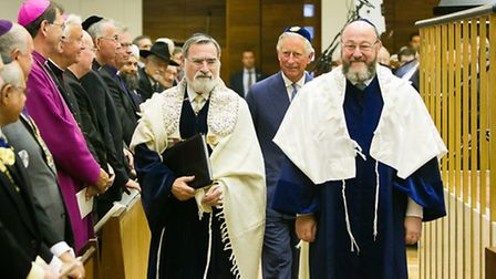 Chief Rabbi Mirvis with outgoing Chief Rabbi Lord Sacks and HRH Prince Charles. Picture: Yakir Zur