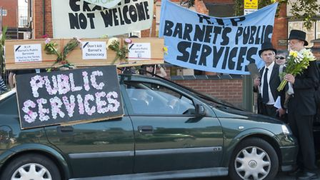 """The funeral procession dedicated to the """"death"""" of Barnet's public services. Picture: Nigel Sutton"""