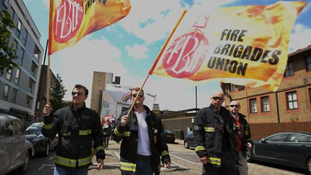 Kingsland fire fighters march against proposals to close the station