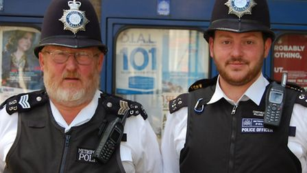 Sgt Taff Williams, who is retiring from the Metropolitan Police after 26 years service, poses with h