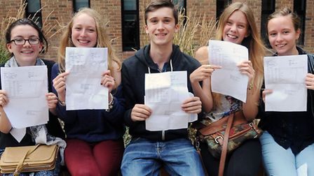 Pictured from left showing of their A Level results is Nell Ranken 18, Louis Hill 18, Rebecca Verlan