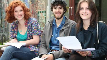 Students at LaSwap in Camden receive their A-level results (from left) Buddleia Maslen, Isaac Mundy