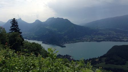 The view of Lake Annecy from the parcours centre