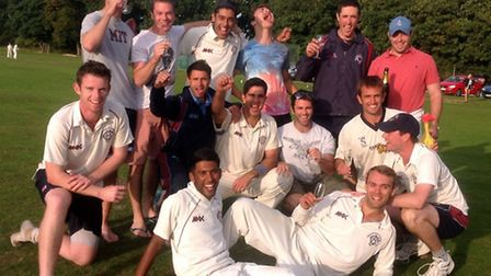 Hampstead celebrate after winning the Middlesex County Cricket League title for the first time.