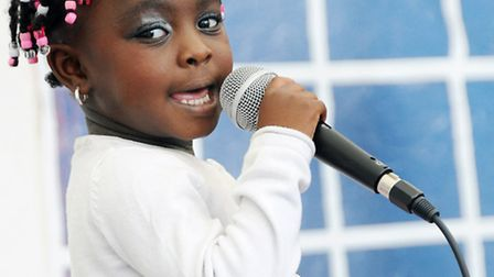 Pictured belting out a Rihanna number at the Camden Has Talent contest is Tyra Simmonds, 3. Picture: