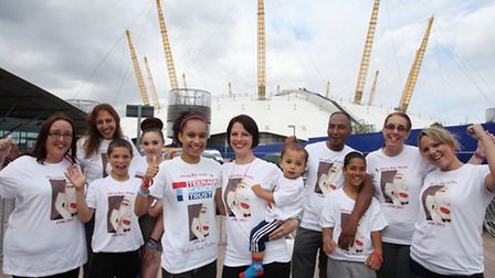 Rebekah Wicks, centre, and friends are climbing the O2 arena to raise money for Teen Cancer trust in