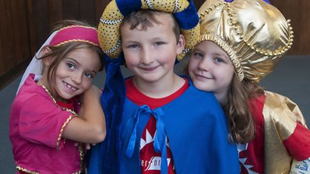 Children rehearsing Aladdin. Pictured left to right: Sophie Hunter,Jake Coxall and Daisy Deering.