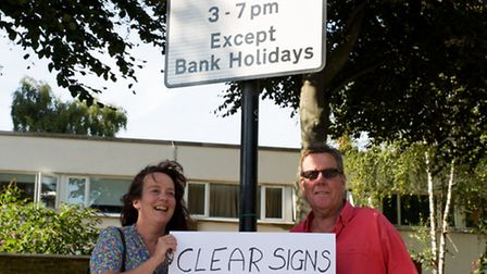 Resident Ruth Jackson and Cllr Chris Knight at the timed restriction in Grafton Road, which has rais