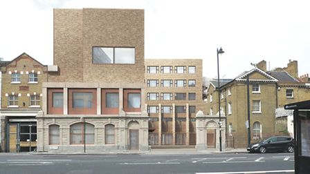 The proposed plans for Hackney New School as seen from Kingsland Road