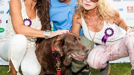 Lizzie Cundy, Marc the Vet [Marc Abraham] and Meg Matthews with Best Rescue dog class winner Zoe, as