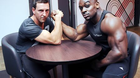 L-R: Personal trainer Dan Parker and Mr Universe Tyrone Ogedegbe