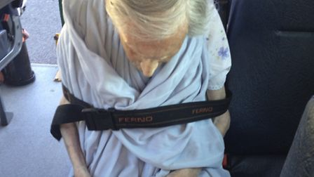 Great-grandmother Celia Davis returns from Royal Free Hospital slumped in wheelchair on Sepetmber 2
