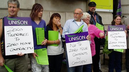 Protest against zero hours contracts outside Camden Town Hall