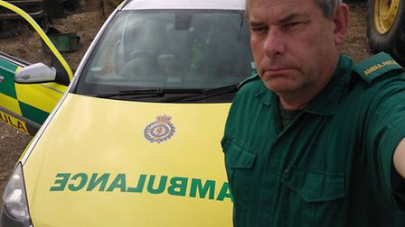 Garry Marriott with his ambulance car