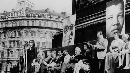 Activist Ruth First and others at an anti-apartheid meeting in Trafalgar Square