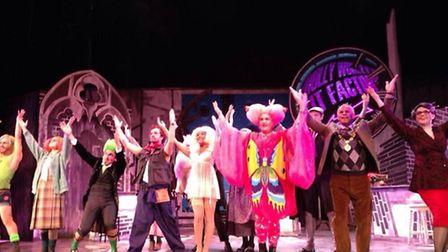 The cast photo of 'Molly Wobbly's Tit Factory' was taken during a press call on stage just minutes b