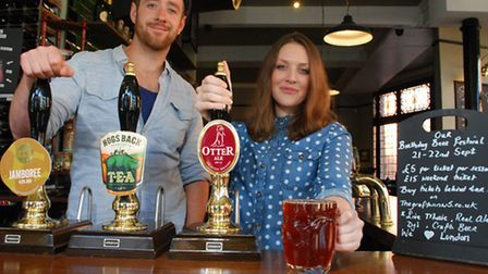 Joel Czopor and Susie Clarke, owners of The Grafton in Kentish Town, with real ale.