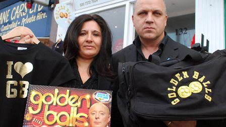 Inez and Gus Bodur with Golden Balls products in 2009 outside the West Hampstead store they were for