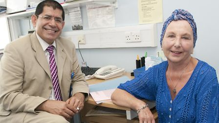 Royal Free consultant Dr Mo Keshtgar with Kathe Baker, the first person to try the pioneering new li
