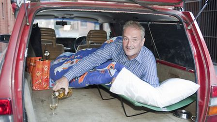 "Cllr Jonny Bucknell in his customised Volvo ""campervan"". Picture: Jeremy Selwyn"