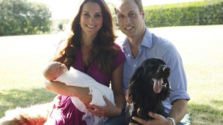 The first official photo of the Duke and Duchess of Cambridge with baby Prince George and Tilly the