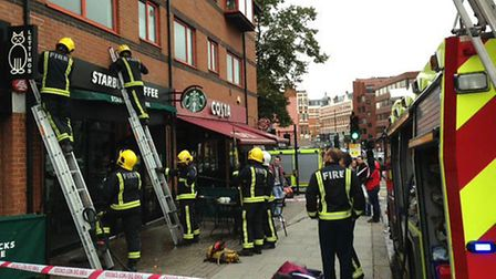 A fire broke out on Saturday in Starbucks. Picture: Candice Temple