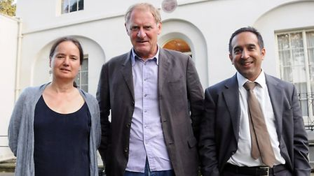 Jo Shapcott, Andrew Motion and Sam Guglani outside Keats House. Picture: Dieter Perry.