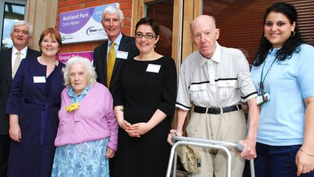 Official opening of the Maitalnd Park Care Home from left Alun Thomas chair of Shaw Care, Cllr Pat C