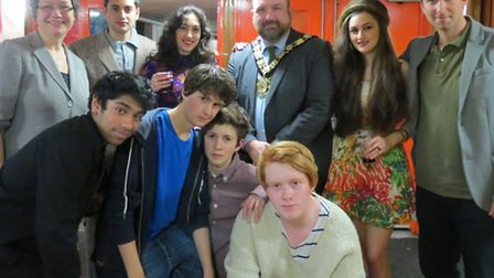 Joe Bor, Kitty Daisy and Lewis, Mayor of Camden and band of current students Acland Burghley