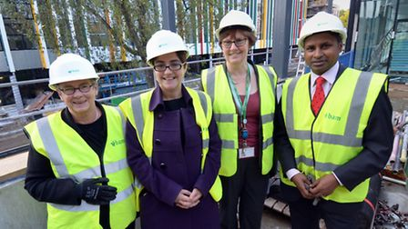 Pictured (left to right) at the Regent High School �topping out� ceremony are: Cllr Angela Mason, Ca