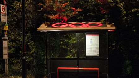 Art installation at Spaniards Road bus shelter. Picture: Nigel Sutton