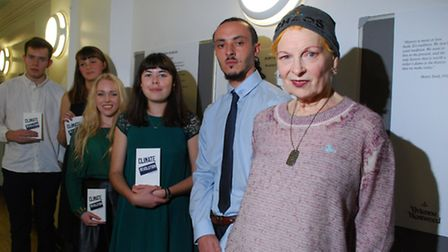 Vivienne Westwood at Keat's Community Library with young poets from her Climate Revolution initiativ