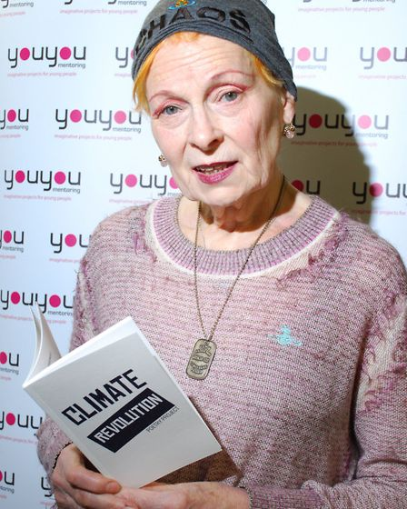 Vivienne Westwood at Keat's Community Library with Climate Revolution poetry book. Picture: Polly Ha