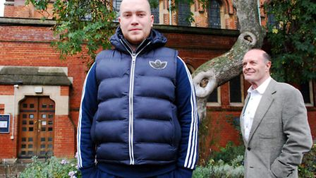 Youth worker Jason Allen with church volunteer Malcolm Craddock at St Mary's Church Primrose Hill. P
