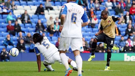 O'S Kevin Lisbie scores 1st goal- Tranmere Rovers v Leyton Orient - SkyBet League One Football Matc