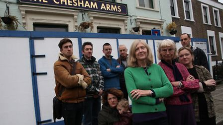 Mehetabel Road neighbours outside The Chesham Arms earlier this year.