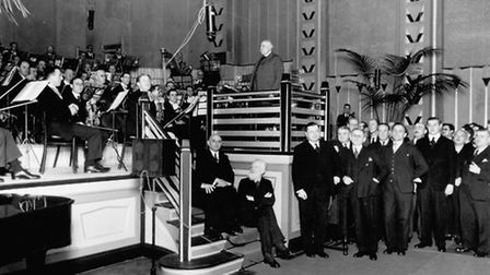 Sir Edward Elgar at the opening ceremony of Abbey Road Studios on November 12, 1931. He is pictured