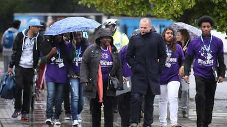 Jennette Arnold, Chair of the London Assembly, and Dan Firth, London Citizens Community walk down Lo