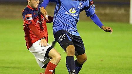 Ahmet Rifat (right) scored the decisive goal in Tuesday's night FA Trophy replay at Witham Town. Pic