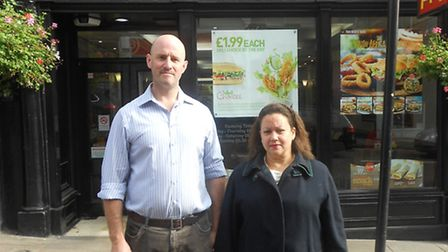 Hampstead Shops Campaign spearhead Jessica Learmond-Criqui and Cllr Simon Marcus outside McDonald's