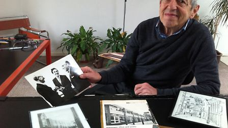 Mayer Hillman at his home in Netherhall Gardens, with a photos, pictures and articles relating to th
